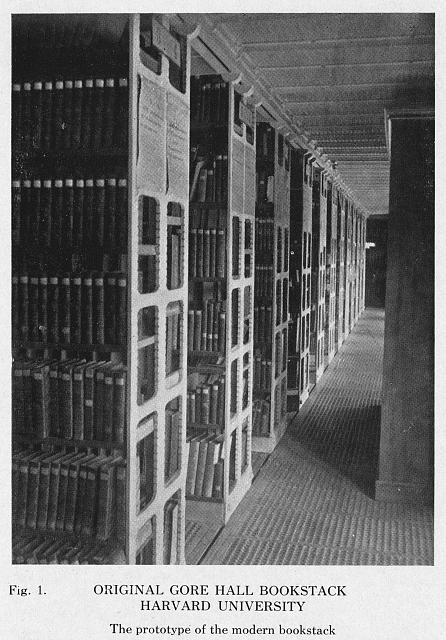 Original Gore Hall bookstack, Harvard University - the prototype of the modern bookstack