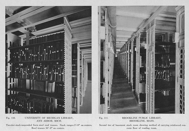 University of Michigan Library, Ann Arbor, Mich. Two tier stack suspended from steel roof trusses (fig. 110)