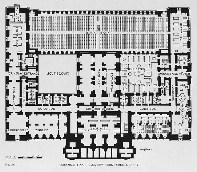 Basement floor plan, New York Public Library (fig. 146)