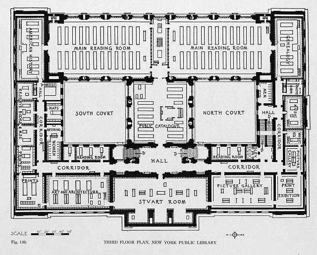 Third floor plan, New York Public Library (fig. 149)