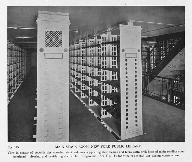 Main stack room, New York Public Library. View in center of seventh tier, showing stack columns supporting steel beams and terra cotta arch floor of main reading room overhead (fig. 115)