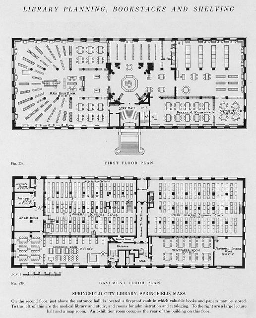 First floor plan, (fig. 238) ; basement floor plan, (fig. 239), Springfield City Library, Springfield, Mass.