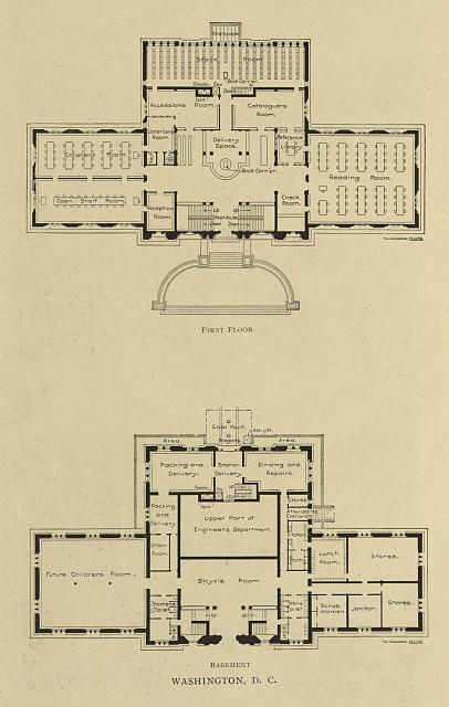 [First floor and basement  floor plans for the  Carnegie Library in Washington, D.C.]