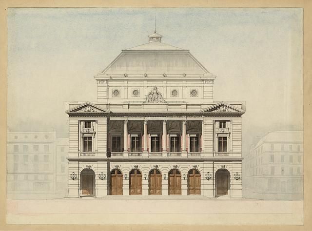 [Theater façade. Elevation rendering]