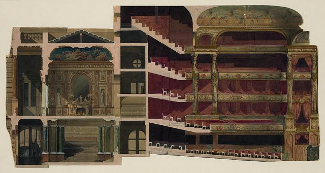 [Theater interior. Section. Rendering]