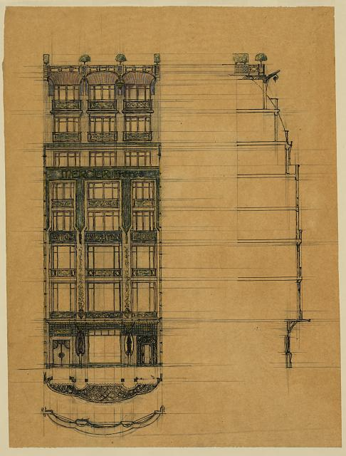 [Project for a store façade (Mercier Frères). Elevation, section, and plan]