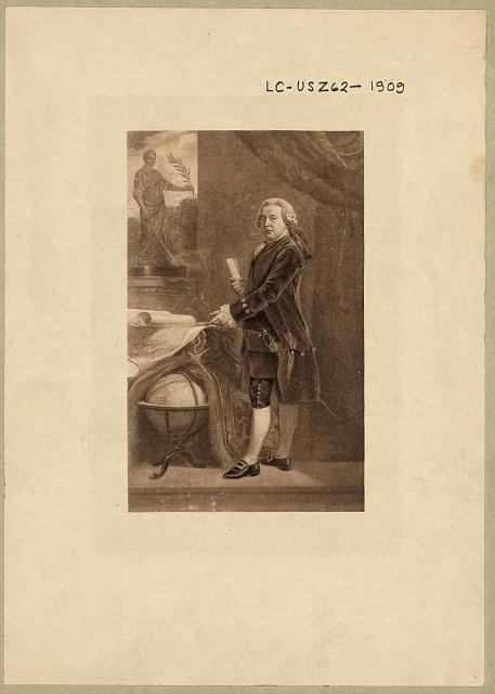 [Vice-President John Adams, full-length portrait, standing next to globe, facing left, holding document]
