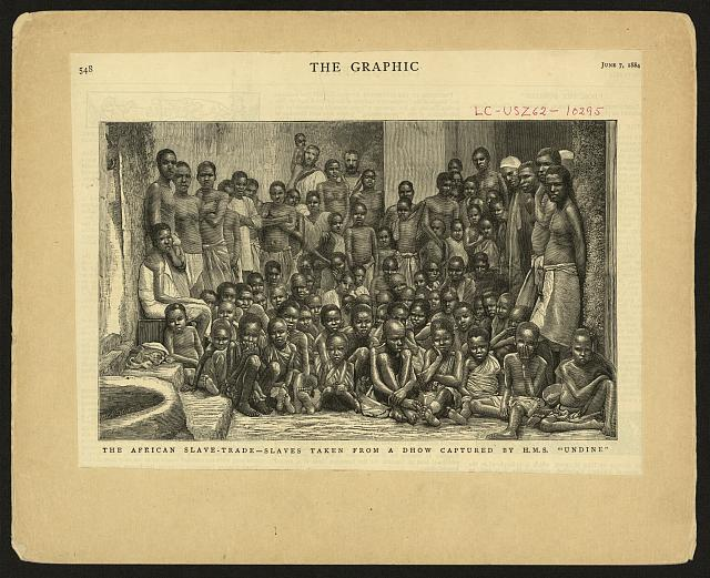 "The African slave-trade - slaves taken from a dhow captured by H.M.S. ""Undine"""