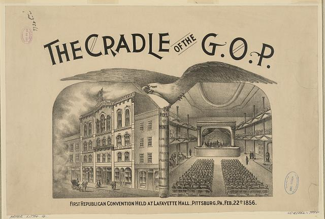 The cradle of the G.O.P. First Republican convention held at LaFayette Hall, Pittsburgh, PA, Feb. 22d 1856