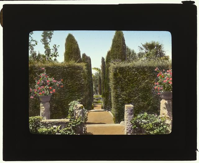 [&quot;Glendessary,&quot; Robert Cameron  Rogers house, Glendessary Lane, Mission Heights, Santa Barbara, California. Walk from terrace to fountain]