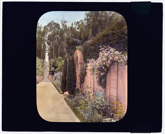 "[""Villa Rose,"" Joseph Donahoe Grant house, 2260 Redington Road, Hillsborough, California. Garden wall]"