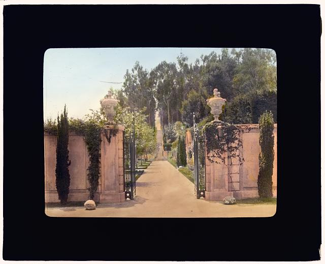 "[""Villa Rose,"" Joseph Donahoe Grant house, 2260 Redington Road, Hillsborough, California. Garden gate]"