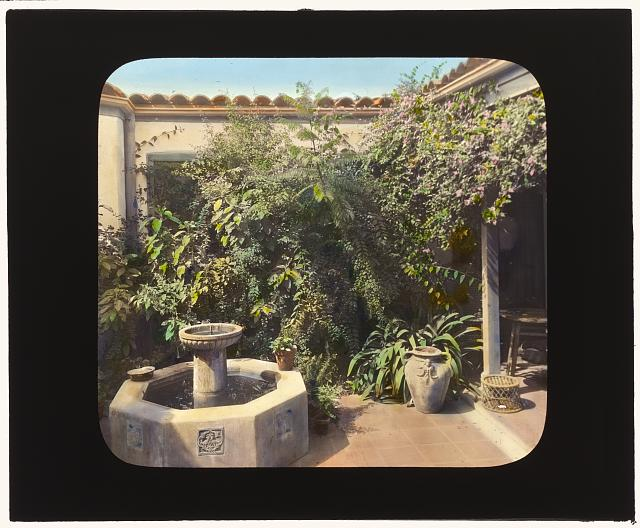 "[""Granada"" house development, Santa Barbara, California. Patio]"