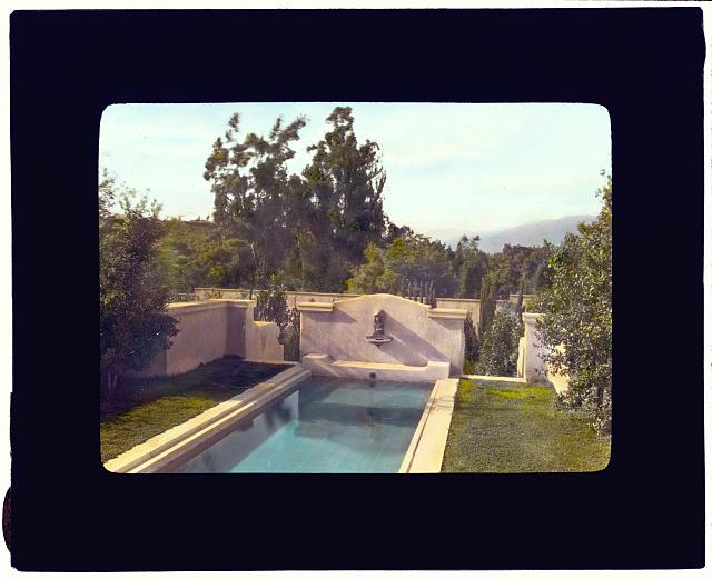 "[""Mi Sueño,"" Herbert Coppell house, 1245 South Grand Avenue, Pasadena, California. View from dining room to reflecting pool]"