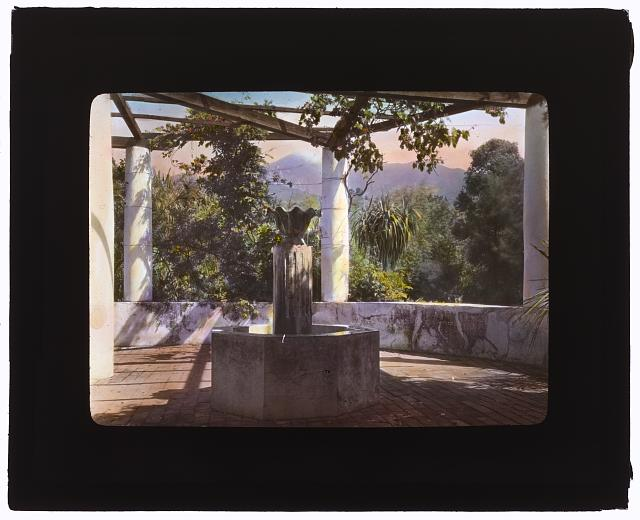 "[""El Fureidis,"" James Waldron Gillespie house, Parra Grande Lane, Montecito, California. Pergola and fountain]"