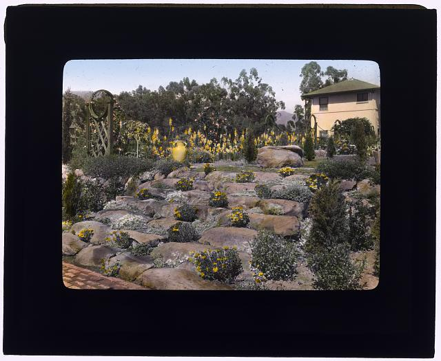 "[""Casa de Mariposa,"" Walter Franklin Cobb house, Butterfly Lane, Montecito, California. Rock garden]"