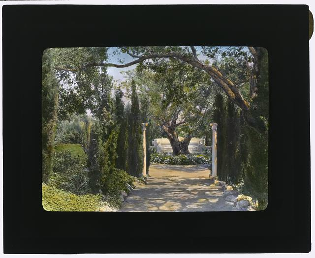"[""Arcady,"" George Owen Knapp house, Sycamore Canyon Road, Montecito, California. Lower garden, walkway to exedra]"