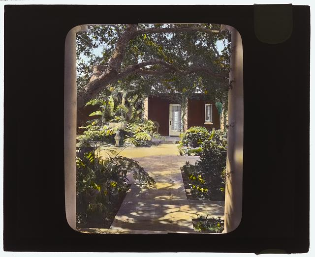"[""Solana,"" Frederick Forrest Peabody house, Eucalyptus Hill Road, Montecito, California. View to interior courtyard]"