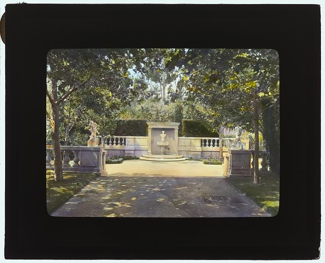 "[""Newmar,"" Senator George Almer Newhall house, 1761 Manor Drive, Hillsborough, California. Wall fountain]"