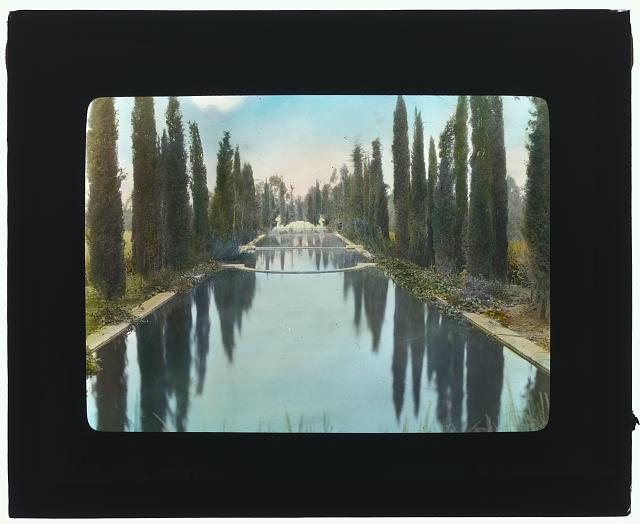 "[""New Place,"" William Henry Crocker house, 80 New Place Road, Hillsborough, California. Reflecting pool]"