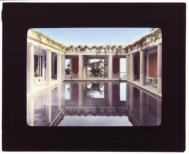 "[""Arcady,"" George Owen Knapp house, Sycamore Canyon Road, Montecito, California. Lower garden, indoor swimming pool at pool house]"
