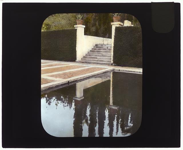 "[""El Fureidis,"" James Waldron Gillespie house, Parra Grande Lane, Montecito, California. Stairs at water terrace]"