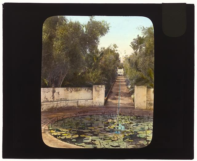 "[""El Fureidis,"" James Waldron Gillespie house, Parra Grande Lane, Montecito, California. Circular ornamental pool]"