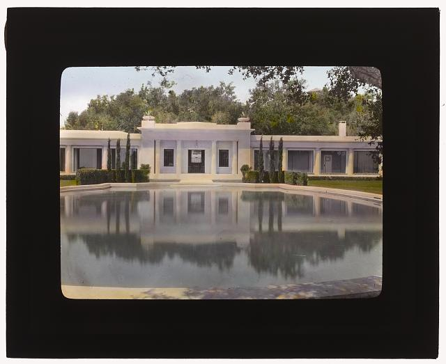 "[""Arcady,"" George Owen Knapp house, Sycamore Canyon Road, Montecito, California. Lower garden, pool house]"