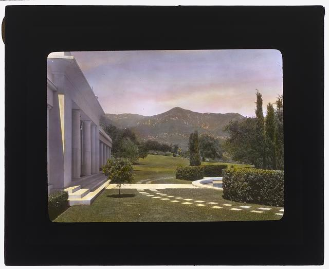 "[""Arcady,"" George Owen Knapp house, Sycamore Canyon Road, Montecito, California. Lower garden, view to Santa Ynez Mountains]"