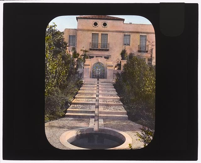 "[""Mi Sueño,"" Herbert Coppell house, 1245 South Grand Avenue, Pasadena, California. West Terrace entrance with water rill]"