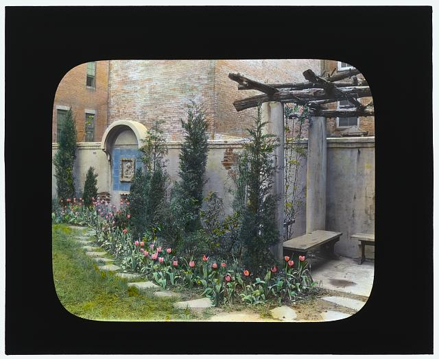 [Laura Stafford Stewart house, 205 West 13th Street, New York, New York. Pergola seat]