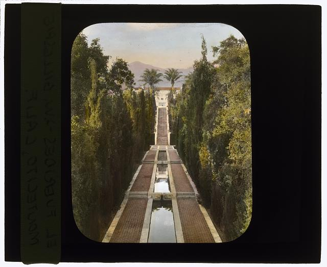 "[""El Fureidis,"" James Waldron Gillespie house, Parra Grande Lane, Montecito, California. View from casino to house]"