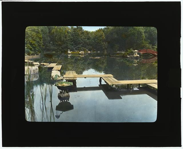 "[""Marshfield,"" George Woodward Wickersham house, Cedarhurst, New York. Plank walkway to tea house in Japanese garden]"