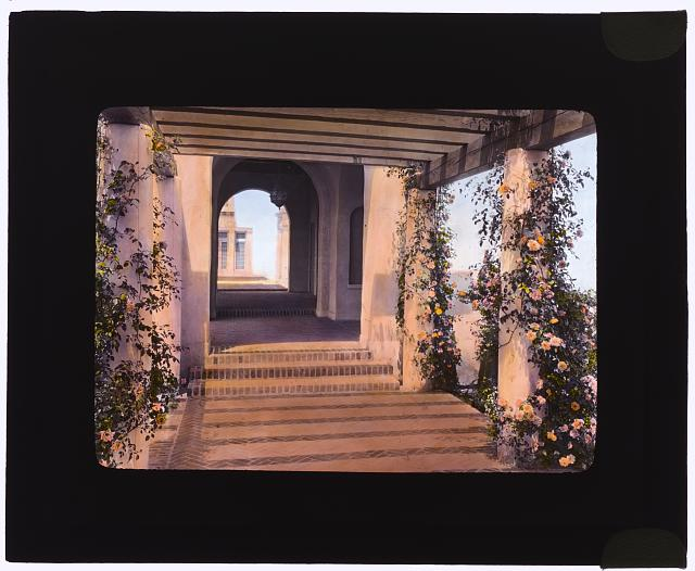 "[""Mi Sueño,"" Herbert Coppell house, 1245 South Grand Avenue, Pasadena, California. Pergola from flower garden to house]"