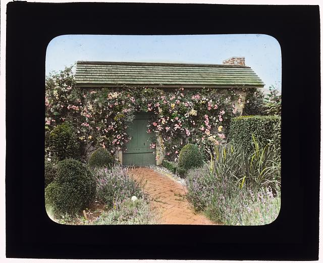 "[""The Dunes,"" Frank Bestow Wiborg house, Highway Behind the Pond, East Hampton, New York. Garden house door]"