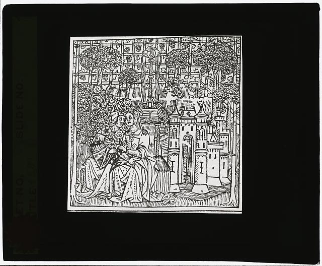 [Reproduction of print showing Couple in enclosed garden]