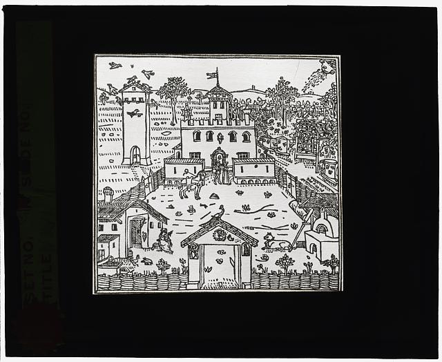 [Reproduction of print showing Castle garden]