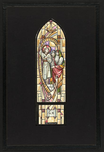 "[Design drawing for stained glass window ""In the Temple"" with young Christ, Moses, Ten Commandments, scrolls, Alpha and Omega for Christ Episcopal Church in Clinton, Maryland]"