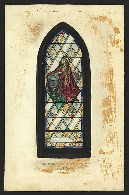 [Design drawing for stained glass window showing The Agony for St. James Protestant Episcopal Church in Louisa, Virginia]