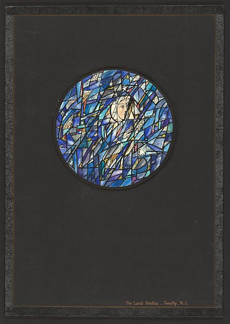[Design drawing for stained glass Blue tondo window showing highly abstracted, Chagal style woman (Madonna?) with stars, lilies]