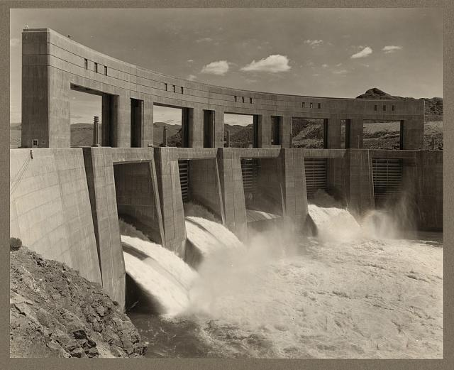 Parker Dam power project, Ariz. and Calif. View of Parker Dam from the California side