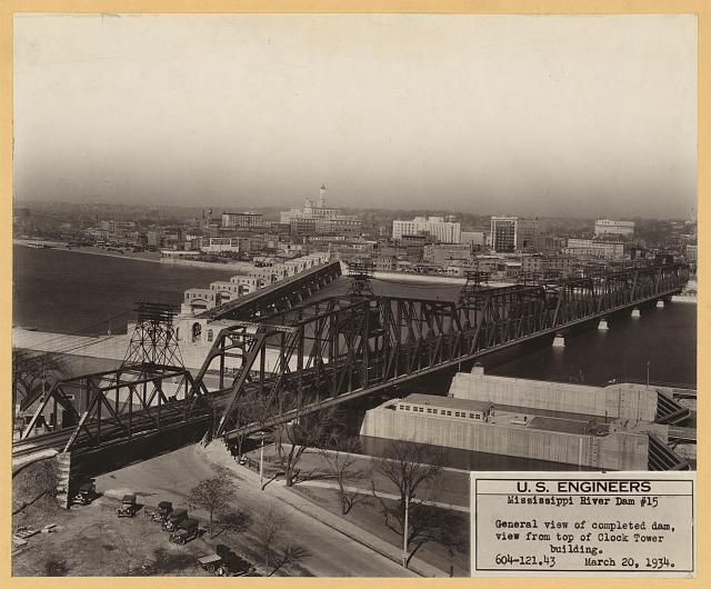 Mississippi River dam #15, general view of completed dam, view from top of Clock Tower building