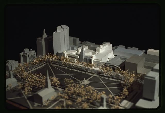 [New Haven Government Center, New Haven, Connecticut. Model C. Façades facing New Haven Green. Model from above]