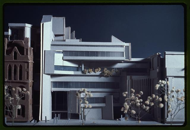 [New Haven Government Center, New Haven, Connecticut. Model D. Façade at entrance to complex, to right of old City Hall]