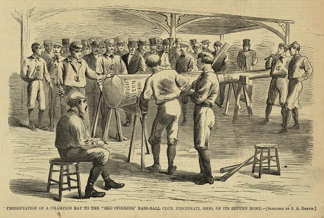 "Presentation of a champion bat to the ""Red Stocking"" base-ball club, Cincinnati, Ohio, on its return home"
