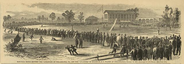 "Base-ball match between the ""Athletics"", of Philadelphia, Pa., and the ""Atlantics"", of Brooklyn, N.Y., played at Philadelphia, October 30, 1865"