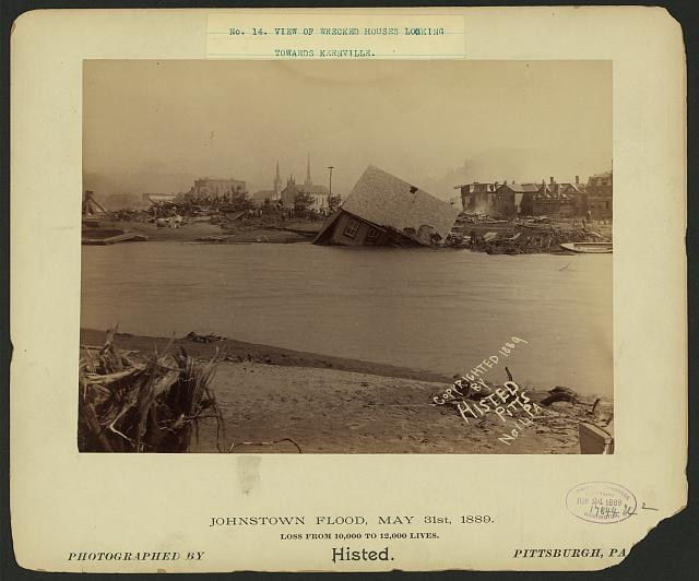 View of wrecked houses, looking towards Kernville, Johnstown Flood, May 31st, 1889