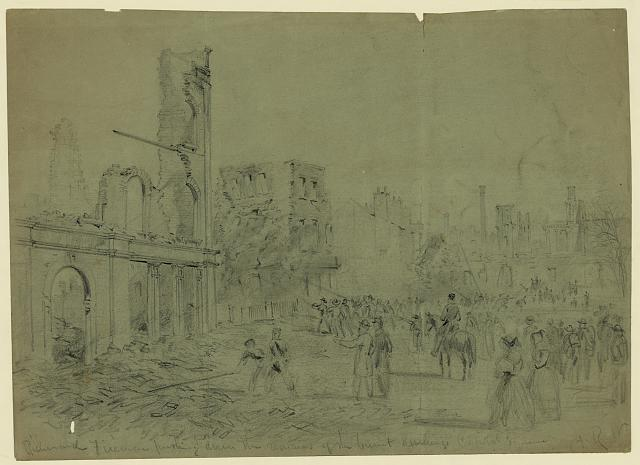 Richmond Firemen pushing down the remains of the burnt dwellings Capital Square