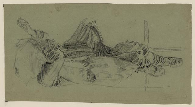 [Single reclining figure with cloth over face]