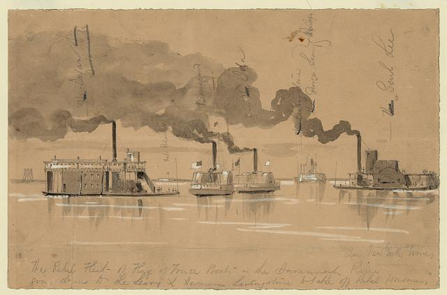 The rebel fleet of flag of truce boats in the Savannah River going down to the Leary & Hermann Livingstone to take off rebel prisoners